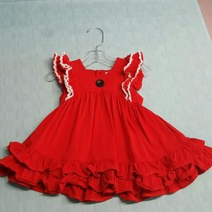 Other - Red ruffle dress Christmas Valentines angel sleeve